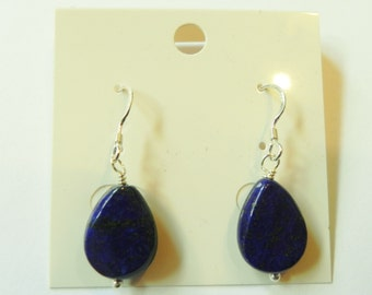 Sterling silver gemstone earrings with lapis lazuli drops