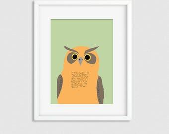 Owl print, owl wall decor, woodland nursery decor, nursery prints, woodland animal print, neutral nursery wall art, baby room art