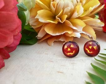 quirky jack o lantern, pumpkin, halloween stud earrings, hypoallergenic, gift for her