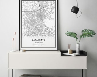 Lafayette map print | Scandinavian wall art poster | City maps Artwork | Louisiana gifts | Art Living Room | M215