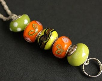 Orange Badge Holder. Badge Lanyard. Orange and Lime Green ID Lanyard. Beaded Badge Necklace. Lampwork Glass Lanyard. Handmade Nurse Lanyard.