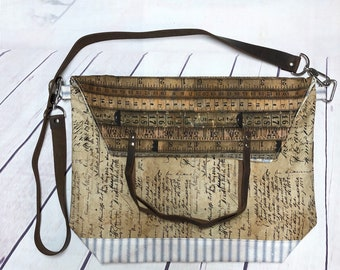 Vintage or Red/Beige crossbody sack bag