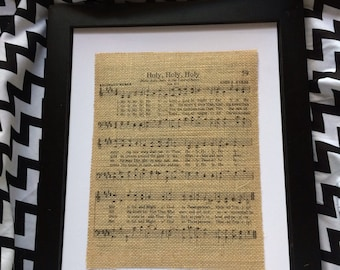 "Hymn Burlap Print ""Holy, Holy, Holy"""