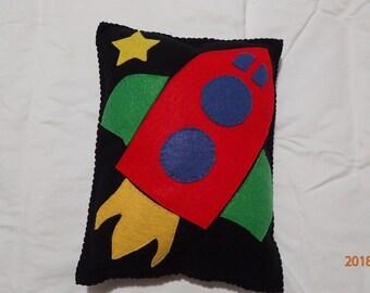 Rocket, felt pillow