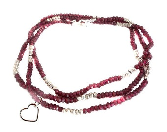 "Gemstone Beaded Chain with Heart Charm -- Finished 30"" Garnet and Silver Pyrite 4mm Bead Chain with Silver Lobster Clasp"