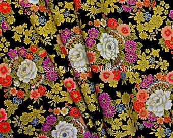 Black Japanese fabric - fabric flower - black fabric flowers - black gold fabric - fabric - fabric - fabric fat quarter TU23 50x50cm