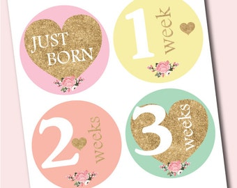 Printable monthly stickers, baby monthly stickers, DIY monthly stickers, Digital baby month stickers, Gold Glitter, Instant Download P100