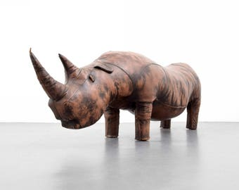"Large Leather Rhinoceros Attributed to Abercrombie & Fitch, 79""""L"