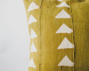 Mustard Yellow Mali Mud Cloth Pillow Cover, African Mudcloth, Boho Mudcloth, Boho Decor Tribal Pillow, Throw Pillow