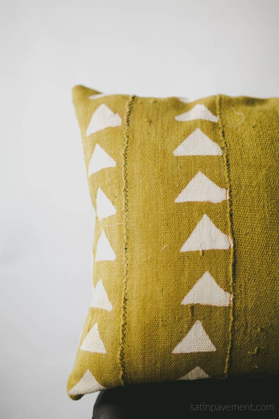 Mustard Yellow Mali Mud Cloth Pillow Cover African Mudcloth