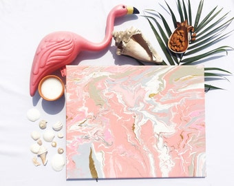 Flamingo pink and metallic gold marbled art canvas