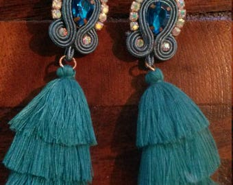 turquoise soutache earrings with triple tassel
