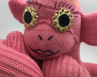 Pink Handmade Sock Monkey With Big Crazy Button Eyes