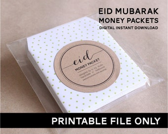 Instant Download!  Eid Money Packet/Envelope- PRINTABLE DIY ONLY. 6 Designs!