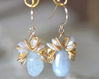 Aquamarine with Freshwater Pearl Design Earrings