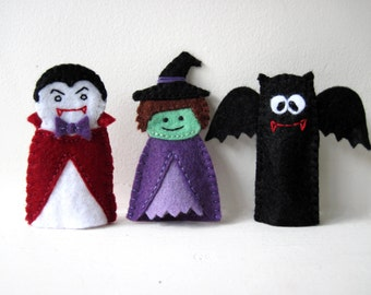 PATTERN: Halloween Felt Finger Puppet sewing tutorial - Witch, Bat & Count Dracula DIY childrens toy PDF - Dress Up play Holiday accessory