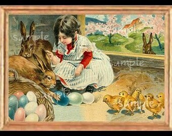 Vintage Easter Girl Miniature Dollhouse Art Picture 1951