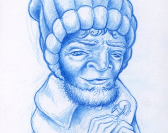 Old Salt Sailor Sketch in Blue Pencil