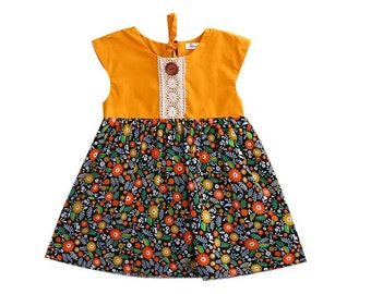 beautiful spring flower dress baby girl 3m to 24m colorful summer dress lace with button wood
