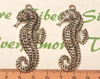 2 pcs per pack 64x22mm Large one side Seahorse Pendant Antique Silver Finish Lead Free Pewter