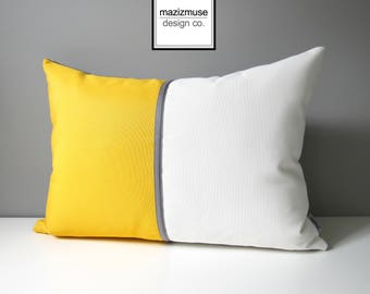 Decorative Yellow & White Outdoor Pillow Cover, Modern Color Block Pillow Cover, Sunflower Yellow, White and Grey Sunbrella Cushion Cover