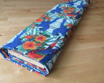 Waterproof Polyester Fabric Material Parrots Tropical Flowers