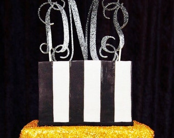 Custom Monogram glitter cardstock cake topper  (choose your color)