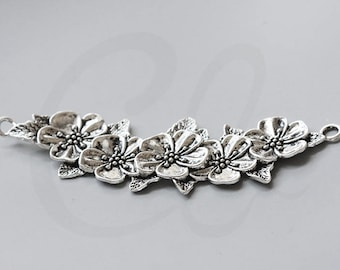 2pcs Oxidized Silver Tone Base Metal Findings-Curved Flower Link 112x39mm (15577Y-J-113)