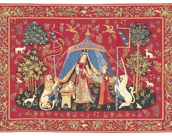 Uniorn wall tapestry hanging - Unicorn Wall Tapestry - Lady and the Unicorn tapestry wall hanging - Unicorn Wall Decor