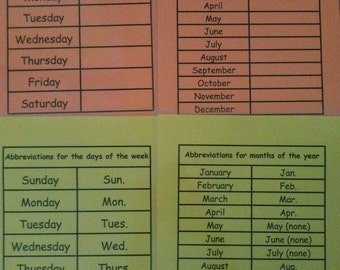 Days of the Week / Months of the Year, Abbreviations, Dry Erase, Laminated, Centers, Homeschool, Montessori Learning, Education
