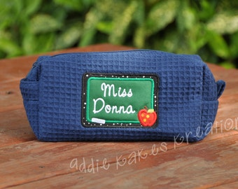 Personalized Cosmetic Bag - Cosmetic Bag for Teachers - Teacher Appreciation - Teacher Gift - Waffle Bag - Accessory Bag - Chalkboard