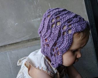 Purple baby bonnet | baby bonnet, toddler bonnet, classic bonnet, purple bonnet, crochet bonnet, handmade bonnet