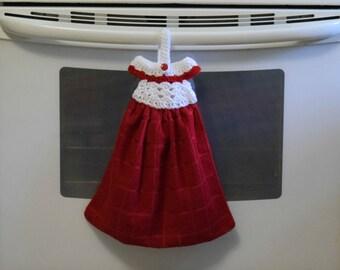 Hanging Kitchen Towel, Kitchen Towel, Crochet Dress Towel Topper, Red Towel