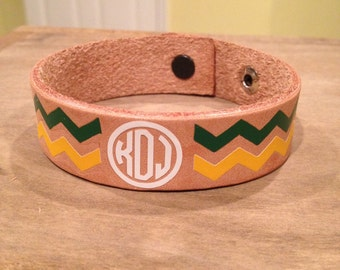Chevron monogram leather bracelet