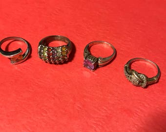 4 Assorted Rings Marked 925