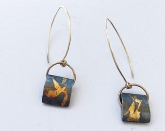 Keum boo earrings, silver drop earrings, long silver earrings, silver and gold, long gold earring, modern earrings, dangle earring, oxidized
