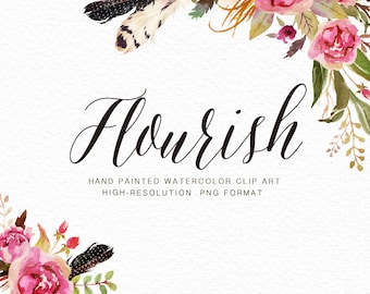 Watercolor floral Clip Art-Flourish/Individual PNG files/Hand Painted/Wedding design