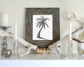 Coconut Tree Freehand Ink Drawing Limited Edition Print, Signed, Numbered, 8 in x 10 in
