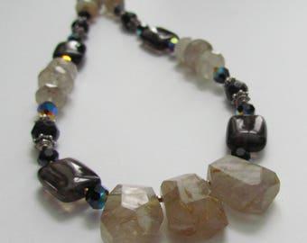 Rutilated Quartz Black Onyx Swarovski Necklace