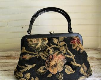 Vintage Tapestry Handbag, 1960s Cloth Purse, Floral Print Fabric Purse, Black Floral Print Fabric Purse Granny Chic, Boho Hanbags 1960s