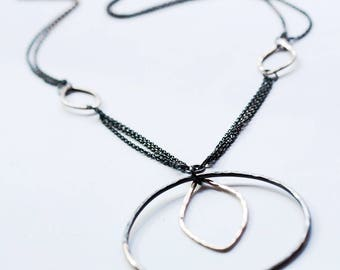 Sterling Silver Necklace  with  Contrast Black and Shiny Silver - Perfect Everyday Fashion Necklace - Gift for Her - Anniversary Birthday