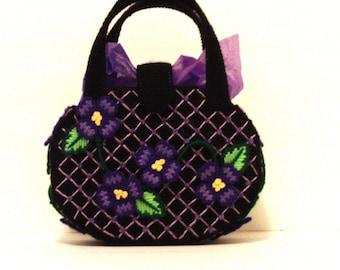 Black and purple small women's tote