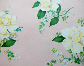 Vintage Gardenia Gift Wrap, Vintage Wrapping paper, One sheet 22X22 inches, All Occasion Gift Wrap, Wedding Mothers Day Birthday Wrap