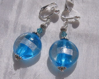 """clips or earrings to choose glass crystals """"turquoise wave"""""""