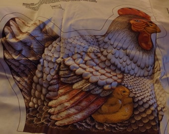 Hen with Chick and Rooster! Cranston Print Works Co. Fabric Panel. Crafting, Pillow Making. Sewing Supplies.