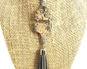 Vintage fork handle necklace, silverware jewelry
