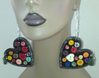 Black Wooden Heart Earrings Embellished with Beautiful Colorful Buttons,Womens Earrings, Handmade Earrings, Womens Jewelry, Large Earrings