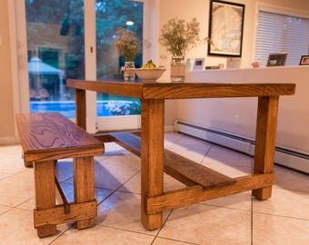 Custom Oak Dining Table w/ Matching Bench