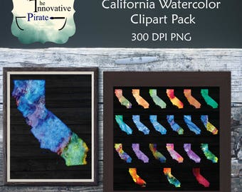 Rainbow Watercolor California Clipart Pack - California clip art - state art - multi-color - colorful states - water color clipart - art