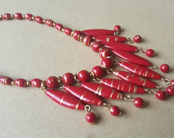 Vintage  Red Gold Necklace  1980s Drop Plastic Beads